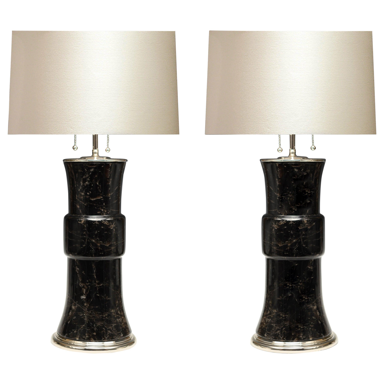 Pair of Dark Rock Crystal Lamps by Phoenix