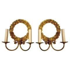 Gilt Bronze Neoclassic Caldwell Sconces
