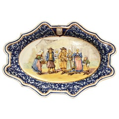 Large Early 20th Century French Hand-Painted Porquier Beau Quimper Wall Platter