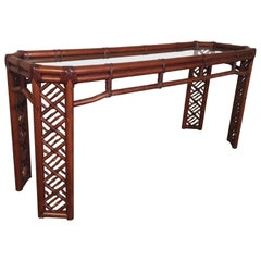 Bamboo Chinese Chippendale Console Table