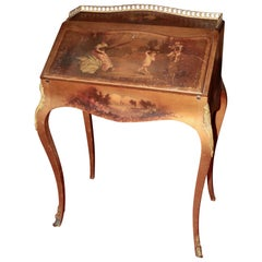 19th Century Rosewood Bureau De Dame 'Desk' Louis XV Legs Hand Painted