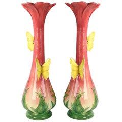 19th Century Delphin Massier Art Nouveau Majolica Vases
