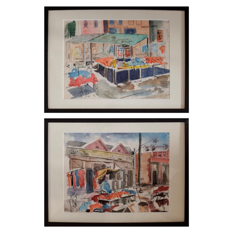 Pair of Watercolors of Maxwell Street in Chicago by David Segel