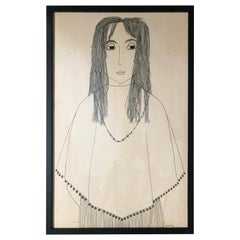 Ink Drawing of a Young Girl by Jerry O'Day
