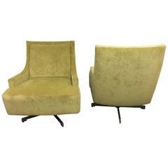 Pair of H B F Barbara Barry Pastel Green Upholstered Scoop Chairs