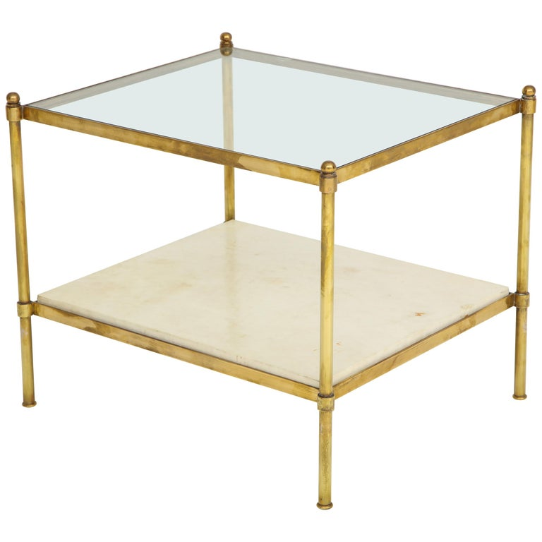 Pair of Brass and Parchment Tables with Glass Tops For Sale
