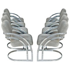 Eight Milo Baughman Style Cantilever Chrome Dining Chairs