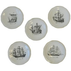 Set of Five Swedish Rörstrand Nautical Black and White Porcelain Plates