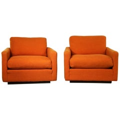 Thayer Coggin Cube Lounge Chairs Orange Lawson Style Attributed to Milo Baughman