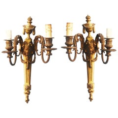 Pair of French 19th Century Louis XVI Style Figural Wall Lights