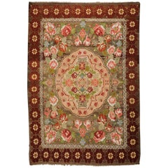 Floral Wool and Cotton Moldavian Kilim Rug with Pastel Roses after Aubusson