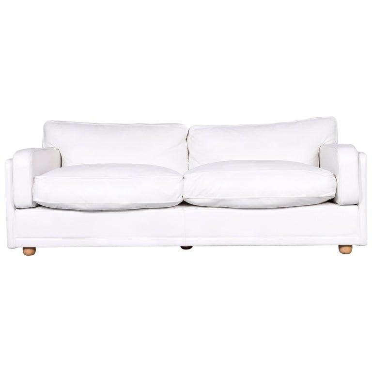 Poltrona Frau Socrate Designer Leather Sofa White Three-Seat Couch