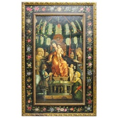 1990s Spanish Hand-Painted Oil on Wood Reproduction in the Gothic Style