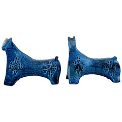 Bitossi, a Pair of Sculptural Horses in Rimini Blue Ceramic by Aldo Londi