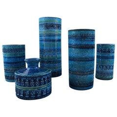 Collection of Five Bitossi, Rimini-Blue Vases in Ceramics, by Aldo Londi