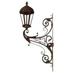 Wrought Iron Castle Lantern with Scroll Decoration