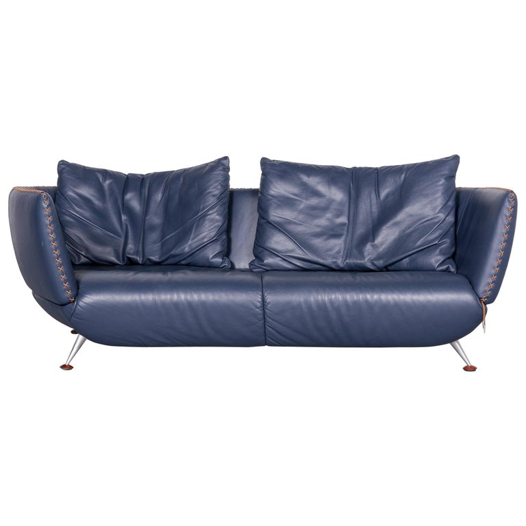 De Sede Ds 102 Designer Leather Sofa Blue Three-Seat Couch