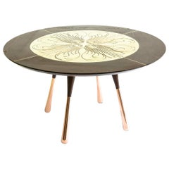 Little Miss Fat Engraved Brass, Copper and Oak Round Peacock Dining table