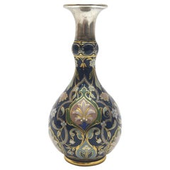 Meissen Porcelain Vase with Rich Pate Sur Pate and Enamel Painting in Cobaltblue