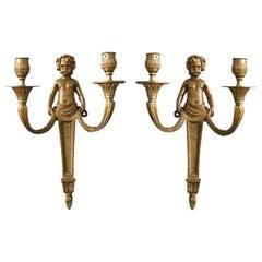 Pair of Gilt Bronze Sconces Louis XVI Style