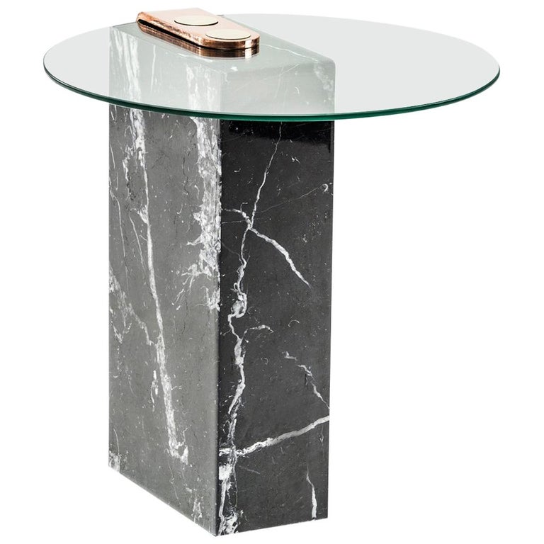 Marble, Glass and Brass Marble Patch Side Table by Egg Designs