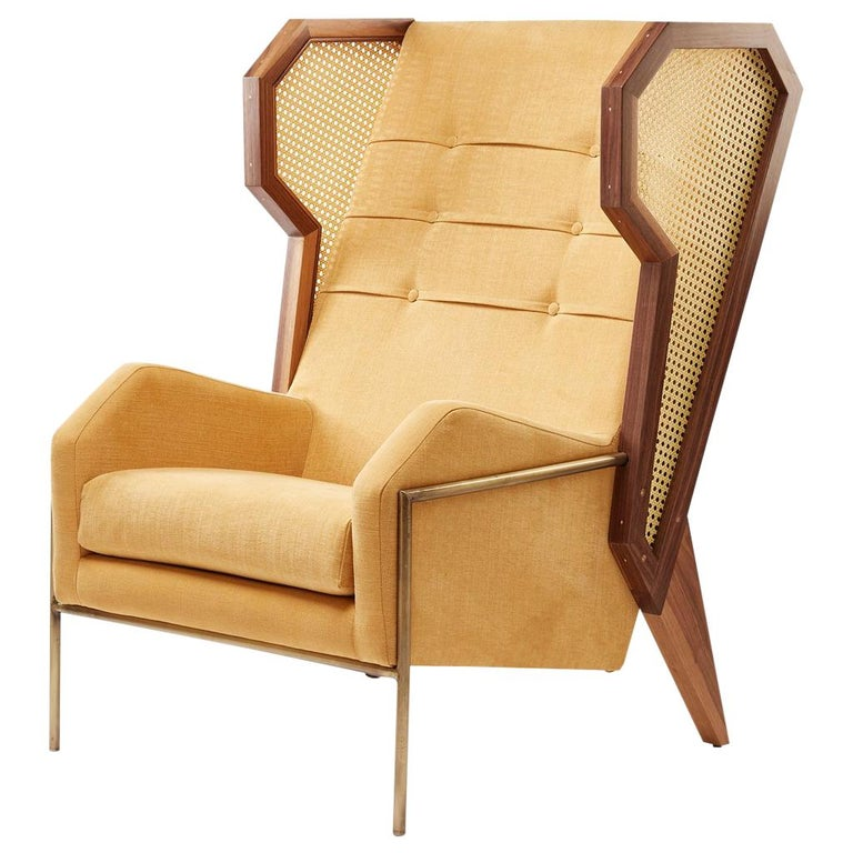 egg designs furniture. Rattan, Linen And Walnut Livingston Wingback Lounge Chair By Egg Designs Egg Designs Furniture