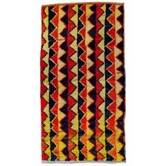 20th Century Red Black and Yellow Wool Geometric Turkish Tribal Tulu Rug