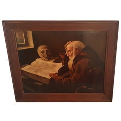 "Dutch Painting ""A Old man reading with a Skull beside him"""