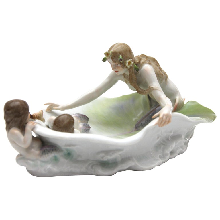 Meissen Art Nouveau Figure, Bowl with Nereide and Tritons Paul Helmig