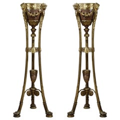 Pair of Regence Style Rouge Griotte Marble Jardinières on Stands, circa 1870