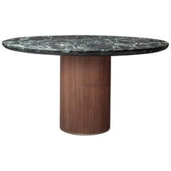 Contemporary QD05 Dining Table with Green Marble Top Walnut Base and Brass