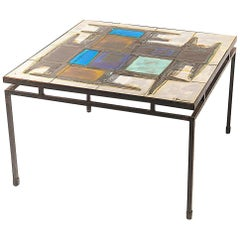 Juliette Berlarti, Ceramic Coffee Table, Metal Frame from Belgium 1960, Signed