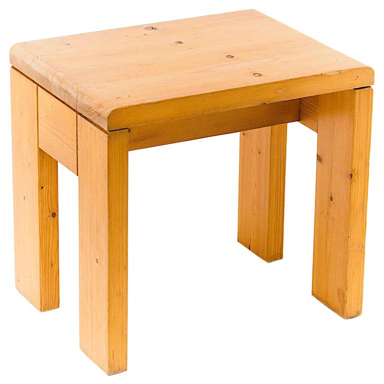 Charlotte Perriand Stool in Pine, for les Arcs ski Resort in the 1960s, Blond