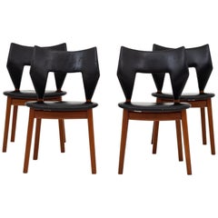 Set of Four Dining Chairs in Teak by Tove & Edvard Kindt Larsen