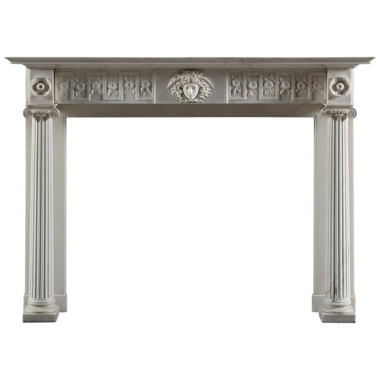 Regency Period, Neoclassical Column Fireplace in White Statuary Marble