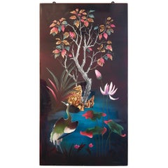 """Heron in Jeweled Landscape,"" Rare, Glowing Lacquer Painting with Gold Leaf"