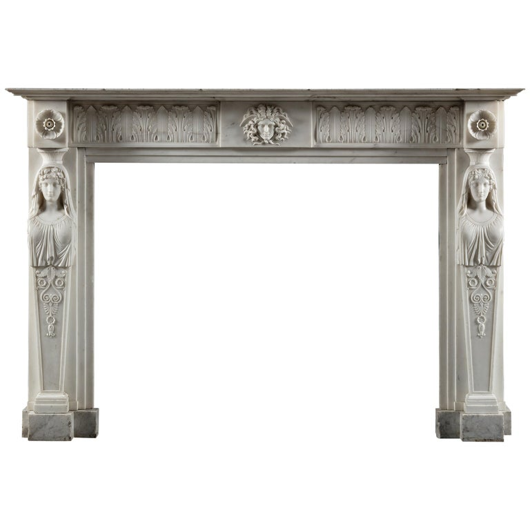 Exceptional, Regency Period, Neoclassical Fireplace in White Statuary Marble For Sale