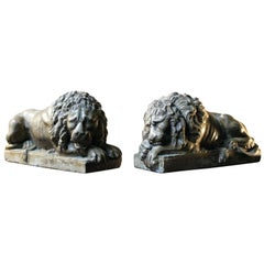 Pair of 19th Century Faux Marble Plaster Lions; after Antonio Canova