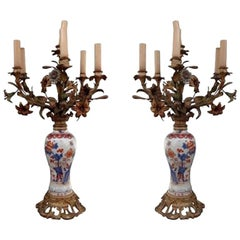19th Century Pair of Imari Porcelaine Lamp Mounted Gilt Bronze