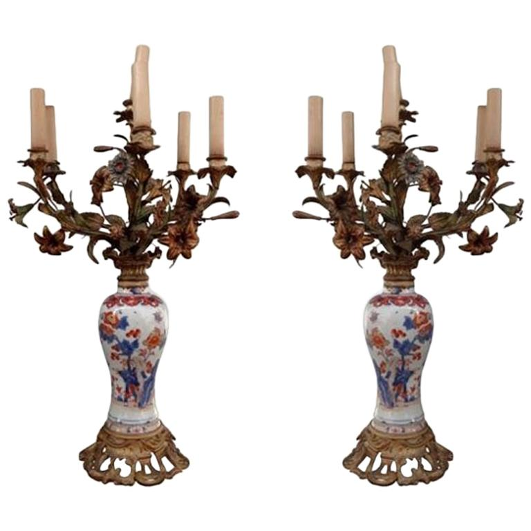 19th Century Pair of Imari Porcelaine Lamp Mounted Gilt Bronze For Sale