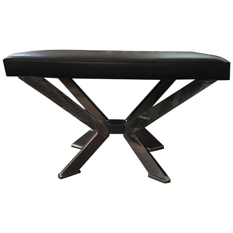 Modern Style Rectangular Black Leather and Chrome-Plated Brass Italian Bench