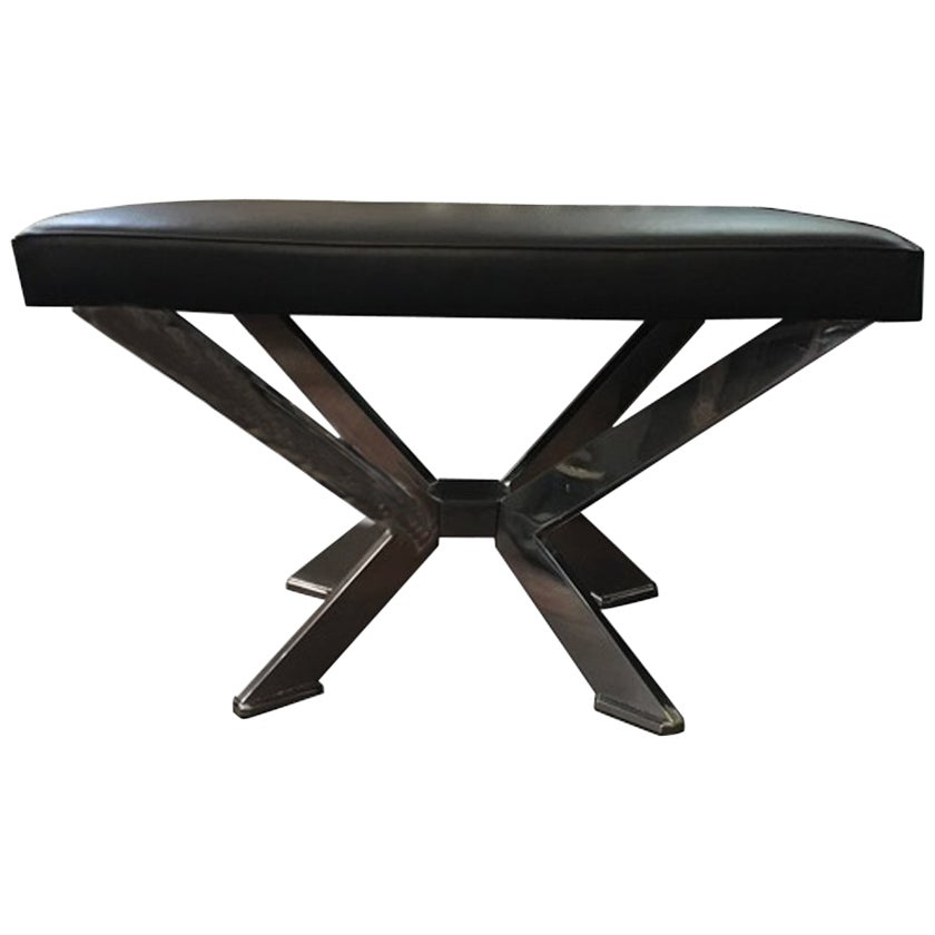Italian Design Rectangular Black Leather and Chrome-Plated Brass Bench