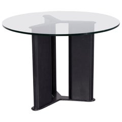 Matteo Grassi Korium Designer Leather Glass Table Coffee Table Black