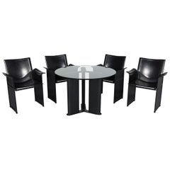 Matteo Grassi Korium Designer Leather Glass Table Armchair Set Coffeetable Black