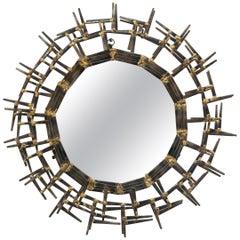 American Brass Brutalist Sunburst Mirror