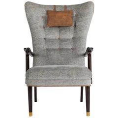 Danish High Back Winged Club Chair