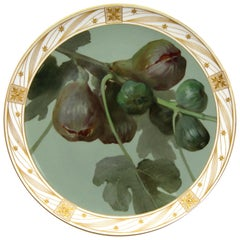 Big KPM Berlin Porcelain Weichmalerei Plate with Fig Branch and Fruits