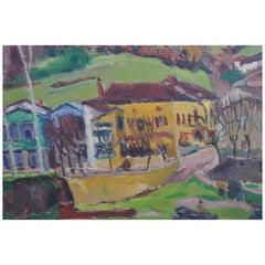 """The Avalats"" Lake Port Landscape Signed Henri Gourc, 1949"