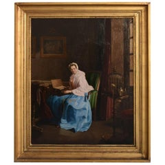 Early 19th Century Serinette Woman Oil on Canvas French School
