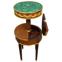 19th Century Napoleon III Rosewood Marquetry and Malachite French Table, 1892